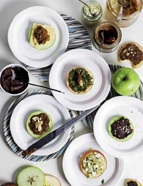 Apple Rings with Cinnamon-Spiced Nut Butter, Feta and Tahini Dip and Chocolate Hemp Spread