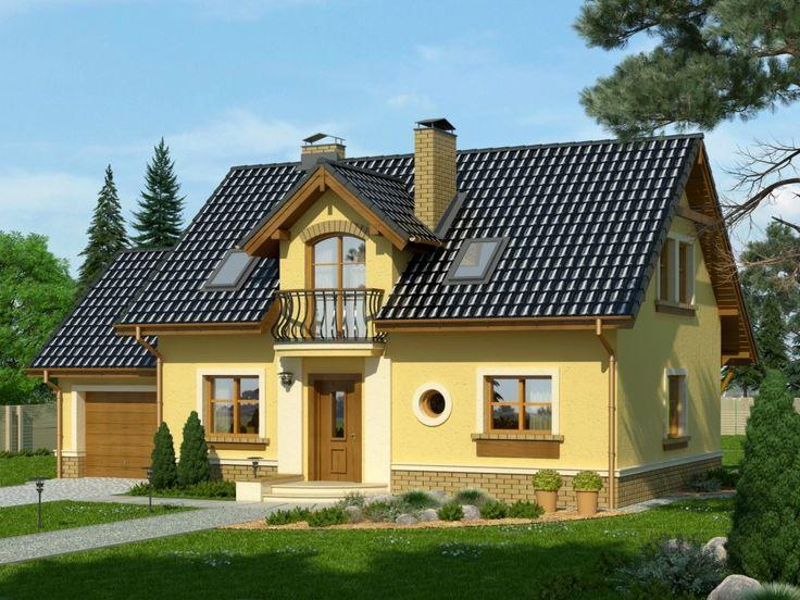 DOM.PL™ - Projekt domu KR Granat z garażem CE - DOM KR1-01 - gotowy projekt domu
