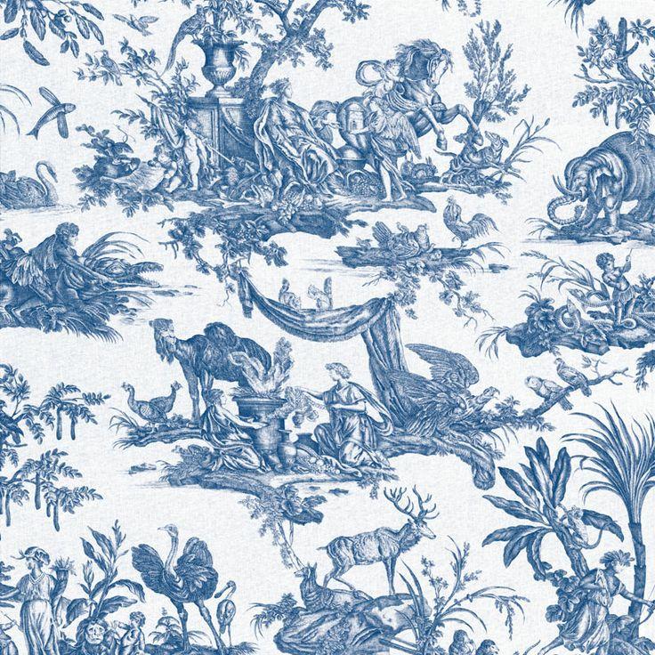 Toiles de Jouy - Les Quatre Parties du Monde bleu