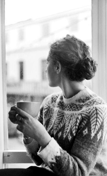 Dig on the sweater but really this makes me think I'd just like to sit down with my cuppa for a change
