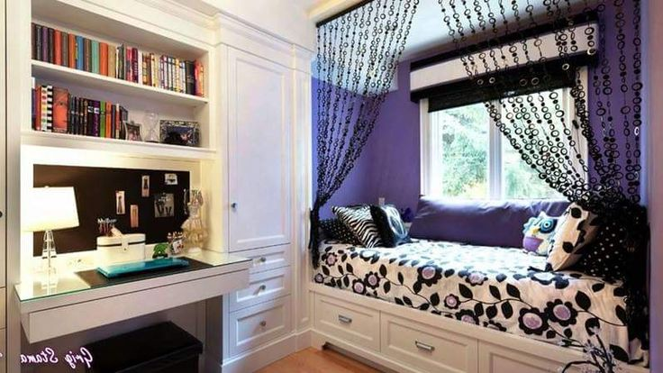 Chain-Link Curtains, Cushions and the Subtle Color Theme Add Much Style to This Teenage Girl Room