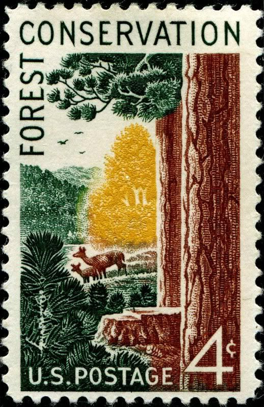 """Forest Conservation, designed by U.S. Forest Service employee Rudolph """"Rudy"""" Andreas Michael Wendelin (1910�2000), and issued on October 27, 1958"""