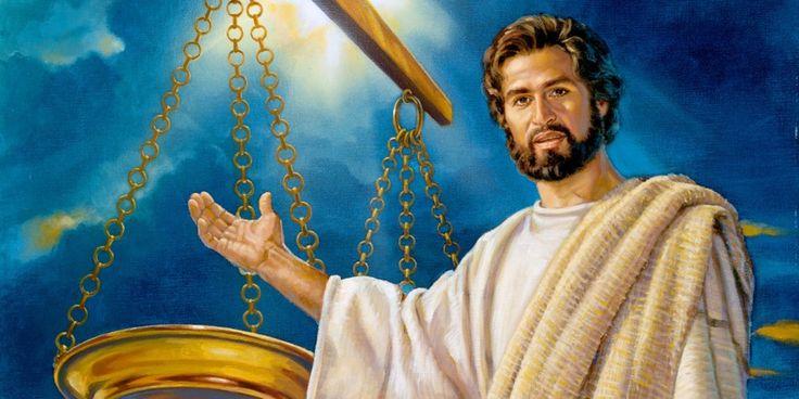 Jesus entregando sua vida voluntariamente como sacríficio de resgate para equilibrar a balança da perfeita justiça de Jeová.HD.