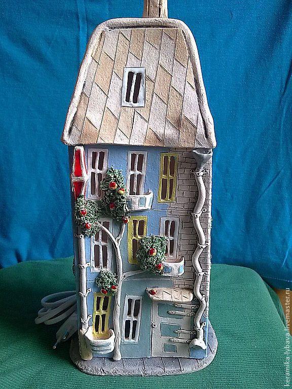 Купить Светильник-ночник . - синий, зеленый, керамика ручной работы, светильник, ночник, подарок, сувенир