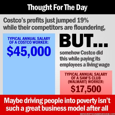 Liberal Thought For The Day...I'm glad to hear this...been boycotting Wal mart & Sams, but I didn't know if Costco was moral. Good to know!