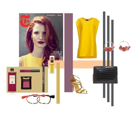 jessica chastain most elegant actress Jewels from L'oliphant www.oliphant-bijoux.fr #polyvore #jewels #honorinejewels #alexandra margnat #red #gold #black #silk #hoops #spinel #fashion #chic #elegance