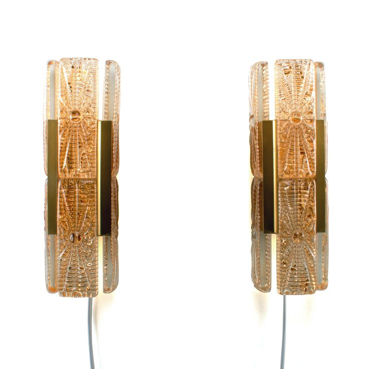 ALADDIN LIGHT - pair of wall sconces by Vitrika, 1960s. Danish Mid-century design. A pair of stylish wall lamps with pressed glass and brass by DanishVintageDesigns on Etsy