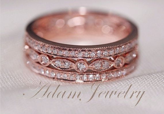 3-Ring-Set Perfect Matching Rings 14k Rose Gold Wedding Ring  Diamonds Ring/  Engagement Ring/ Half Eternity Band/ Promise Ring $760