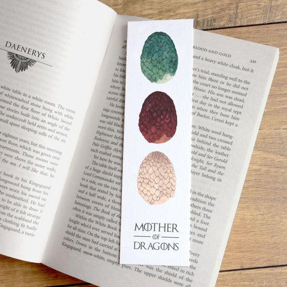 Mother of Dragons book mark - dragon egg bookmark - game of thrones bookmark - george rr martin quote book mark - Daenerys Targaryen - Breaker of chains - paper bookmark - bookworm gift - stocking stuffer - Etsy