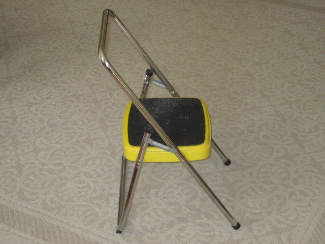 Vintage Yellow Metal Cosco Step Stool Single Step Folding