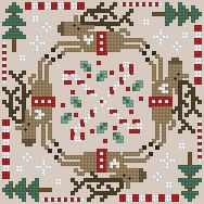 Cross-stitch biscornu ... no color chart available, just use the pattern chart as your color guide.. or choose your own colors...     The Floss Box | Biscornu 559 Pdf pattern