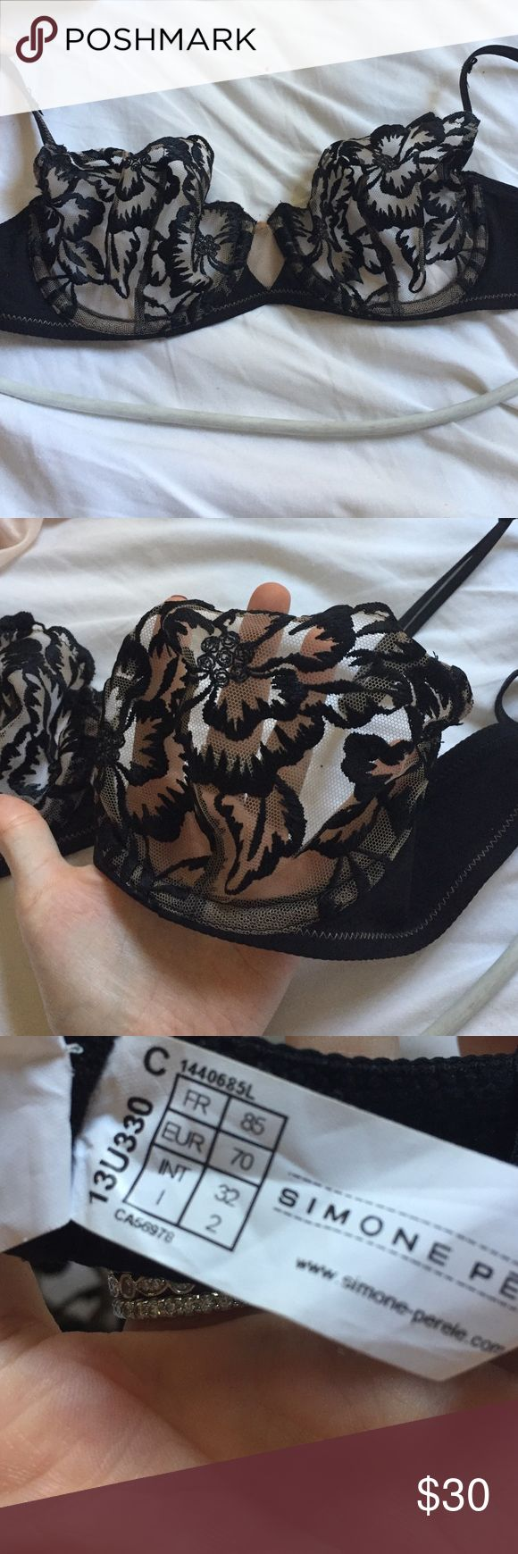 High quality worn once, 32 black bra I bought this at a high end lingerie store similar to la perla, the cups look see through but actually provide an almost nude look. The bra is a 32C. No wear and tear whatsoever, forgot to return it and took tags off. Z Simon perele Intimates & Sleepwear Bras