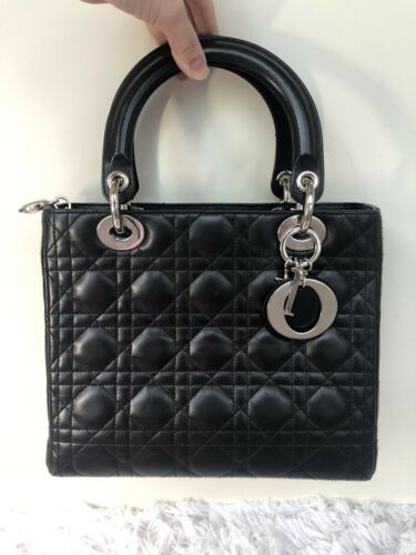 364c67f97a Details about CHRISTIAN DIOR Black Lambskin Cannage Medium Lady Dior Tote  Bag in 2019 | Dior | Lady dior, Dior, Lambskin leather