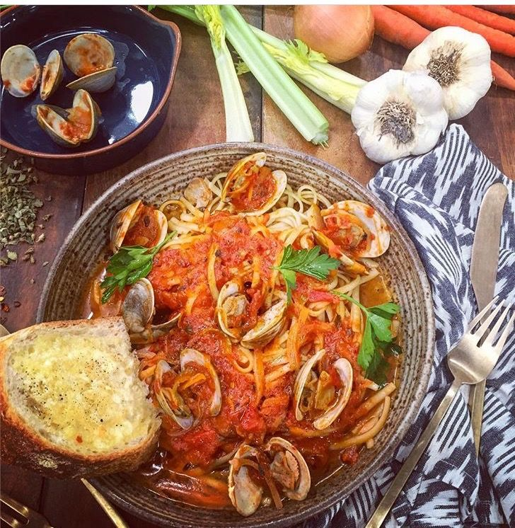 Zuppa di Clams is a tomato based broth that is perfect over linguine or with crusty Italian bread. We serve this dish as part of our Christmas Eve table.