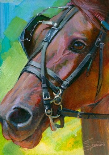Original painting of a harness racing horse by Lesley Spanos | SpanosStudio - Painting on ArtFire