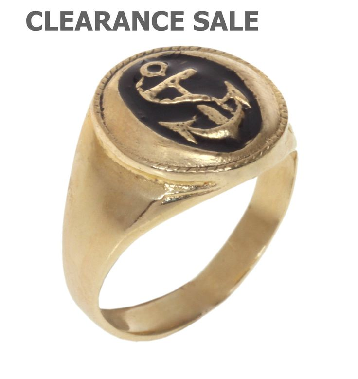 CLEARANCE SALE, Statement Ring, Pinky Ring, Anchor Signet ring inlaid with black enamel, 14K Gold plated, Gift Idea for Men and Women