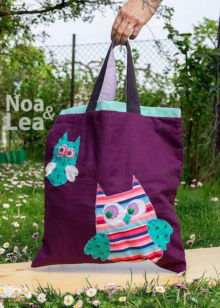 Upcycled trousers handbag by Noa & Lea with owls Torba Upcykling, Torba ze spodni, Torba z jeansów z sowami  http://noa-lea.pl/index.php/pl/sklep/sklep-torby/34-torba-upcykling-fioletowa-sowy