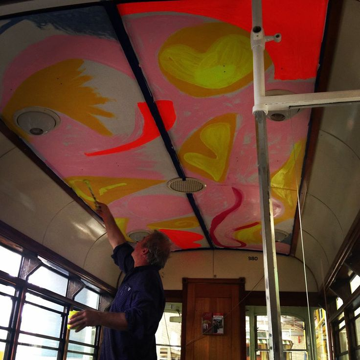 And so it begins... Mark Schaller paints the ceiling of our Bendigo tram. The moving tribute will be on the tracks early March. #theschallerstudio