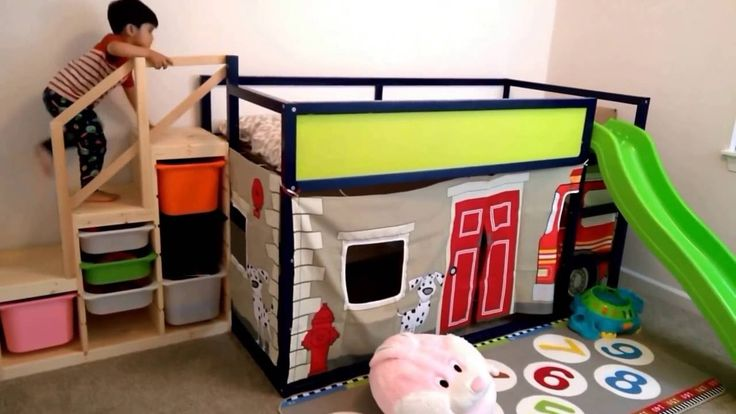 Ikea Kura Bed hack - Fire Engine Play and slide structure