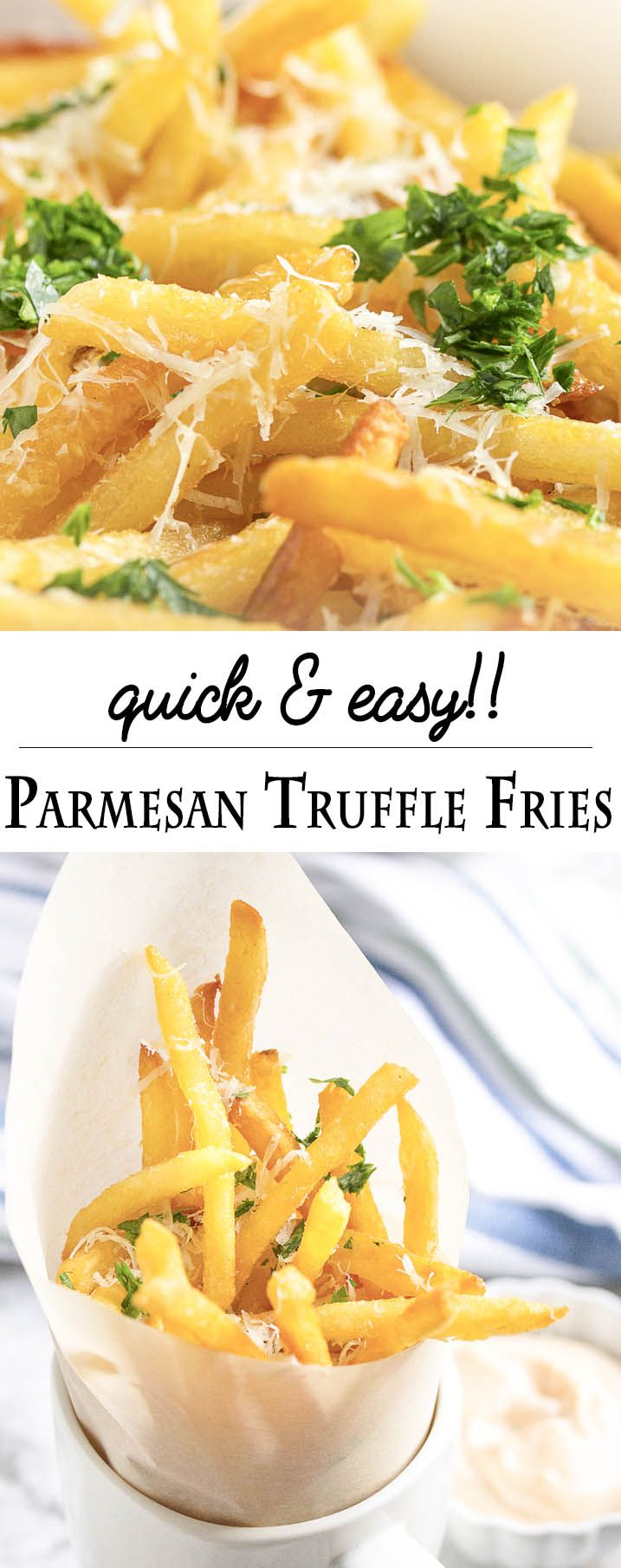 Parmesan Truffle Fries - Use frozen, bagged fries to have tasty truffle fries, covered in truffle oil, parmesan, and parsley on the table in less than 15 minutes. | justalittlebitofbacon.com