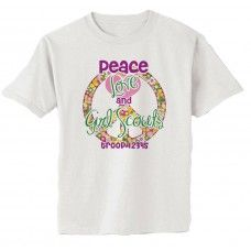 Customizable Girl Scout Shirts! Peace, Love & Girl Scouts with your troop number! #girlscouts Girl Scouts