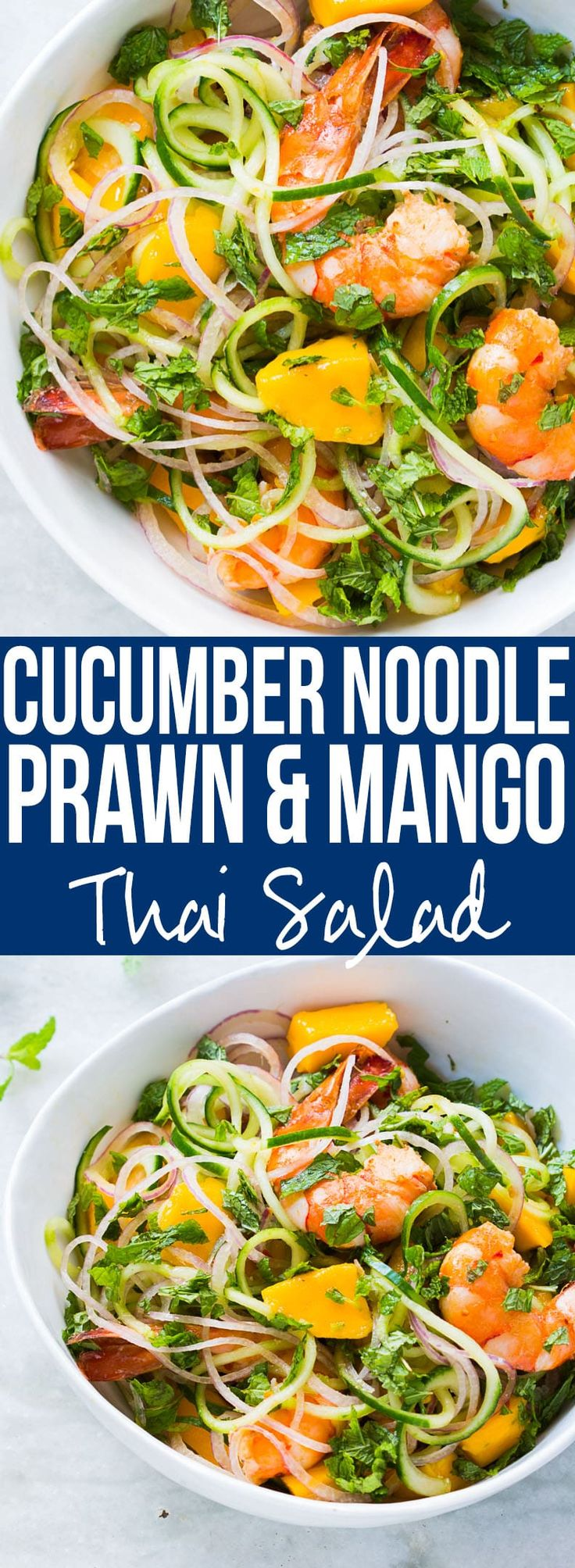 CUCUMBER NOODLE PRAWN AND MANGO SALAD (GLUTEN FREE) - Recipe for a fresh cucumber noodle prawn and mango salad which is also gluten free. All the thai flavours of Bangkok in this hearty spiralizer salad recipe.