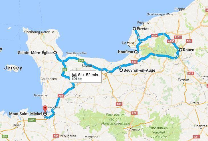 Roadtrip Route Mit Tipps Normandie Frankreich Karte Von Joy