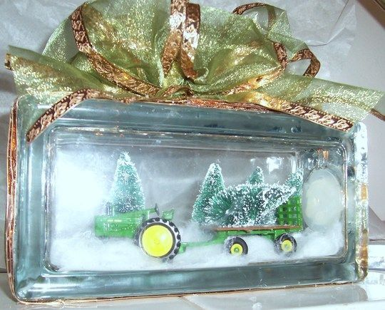 How to make a John Deere Christmas Lighted Glass Block (I like the idea of making a picture ice block!)