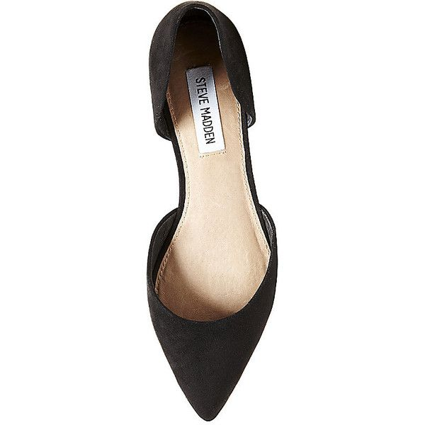 Steve Madden Women's Lorayna Flats ($36) ❤ liked on Polyvore featuring shoes, flats, black, black shoes, black d orsay flats, flat pumps, black suede flats and pointy-toe flats