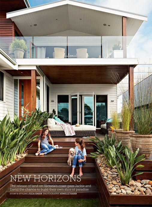 Like the large form pebbles & wood siding on  the planter boxes. Would look nice in white for our project.   Inside the Home Beautiful October 2014 issue