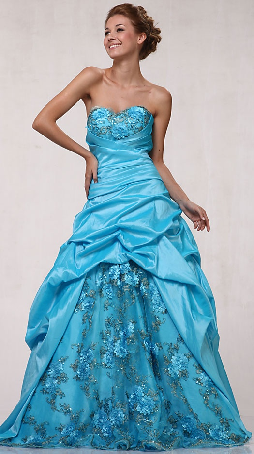 Long Turquoise Ball Gown with Lace $259