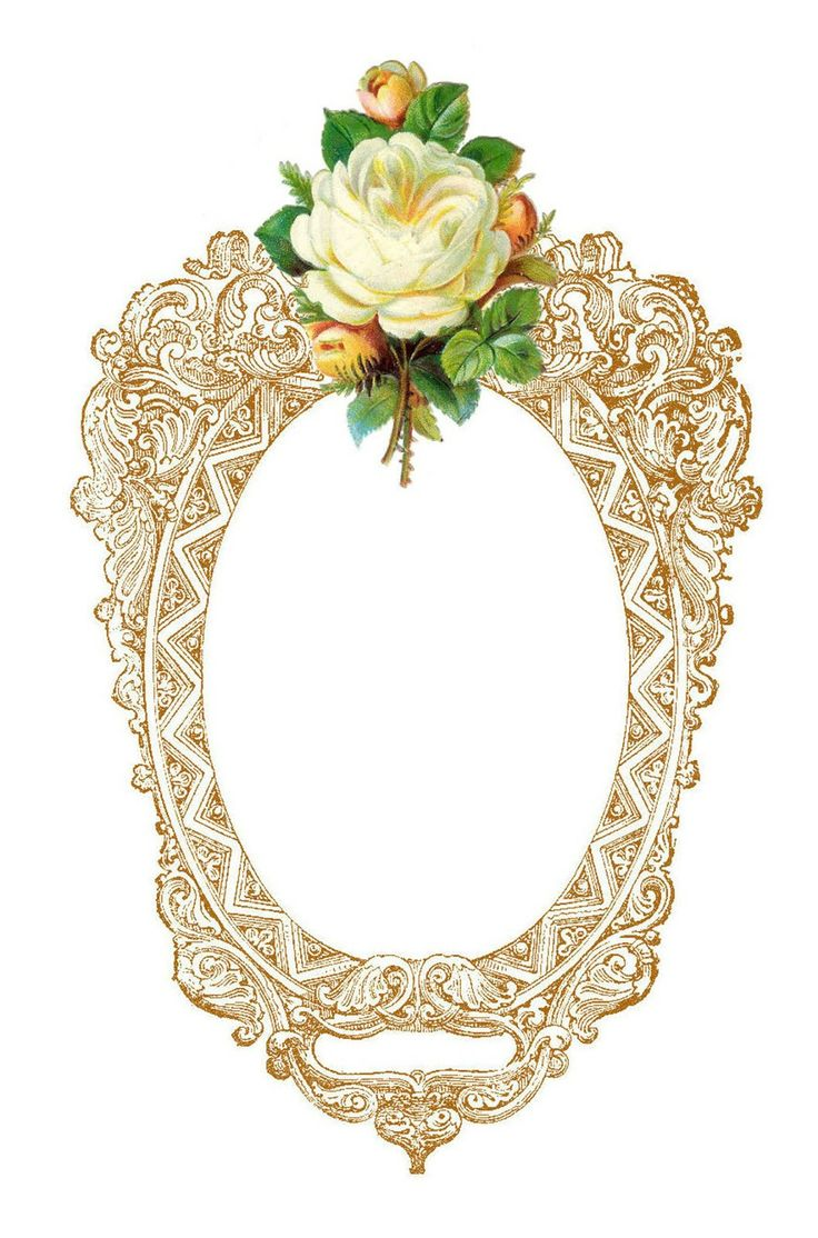 Free Frame Clip Art: Vintage Printable Frame with White Rose Graphic