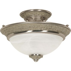 Rockport Milano Brushed Nickel Alabaster Glass 2-light Semi Flush Dome Fixture