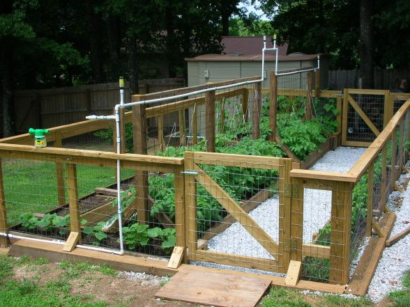 Raised Bed Vegetable Garden, 12 x 24 raised bed garden made with reclaimed lumber- complete with gates. irrigation and stone paths., Raised ...