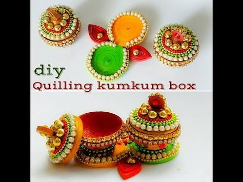 How To make Quilling Kumkum Box|| Quilling decorative box||Quilling 3d Miniature - YouTube