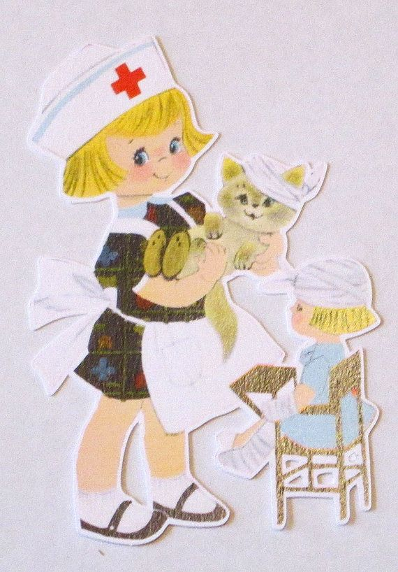 New American made childs children's retro greeting card die cut scrap girl nurse w kitten cat & doll  scrapbooking party decorations crafts