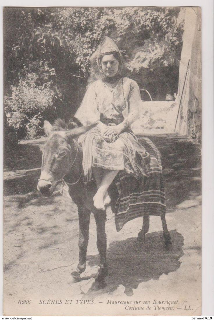 Algerie Scenes Et Types Femme Mauresque Et Son Bourricot - Scenes
