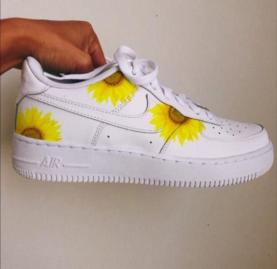 Custom Nike Air force Sunflower Shoes   Sunflower Sneakers