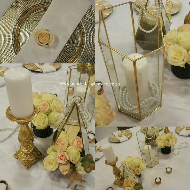 Classic table design for the beautiful Mrs SA Semi Finalist Sonica Wright.  #golddecor  #pearls  #roses #emperorspalace