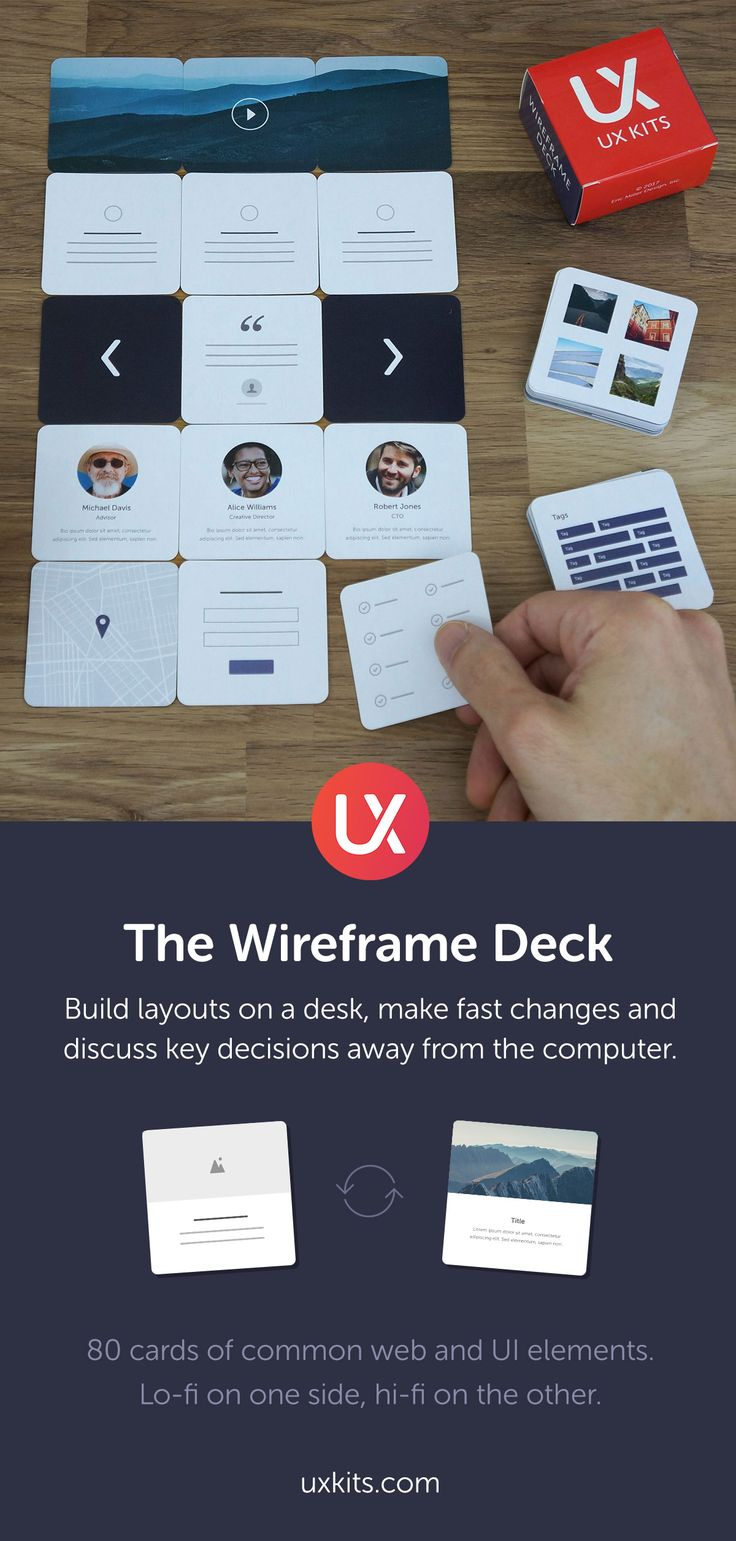 The Wireframe Deck by UX Kits is a physical deck of 80 cards of common web and UI elements. Wireframe web and UI layouts on your desk, make fast changes and discuss key decisions, all away from the computer; a great way to start a project with your team, client or on your own.   Available now at https://uxkits.com/products/wireframe-deck-of-cards