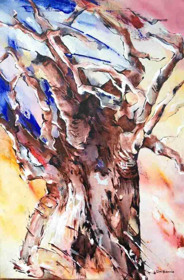 Baobab Dance, acrylic on canvas by Lin Barrie