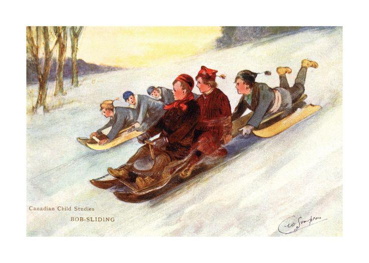 Canadian Vintage Art Print - BOB-SLIDING