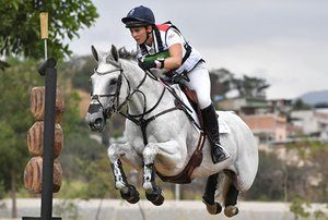 Britain's Gemma Tattersall on Quicklook V competes during the Eventing's Individual Cross Country.