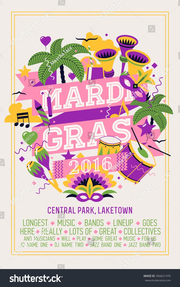 Lovely vector flat design poster concept layout or banner template on Mardi Gras or Fat Tuesday festive carnival celebration party event with tropical and party items and sample text