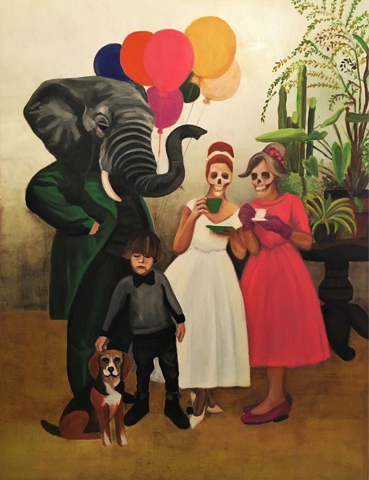 EKAV-ARTIST New Generation 4 sergisi: DAMLA ÖZTÜRK - Doğumgünü Tuval üzerine yağlıboya, 150x130cm, 2016