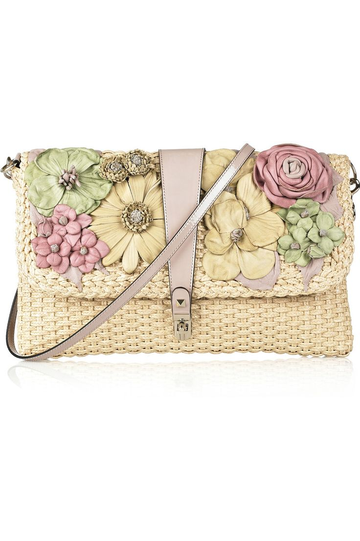 VALENTINO Flower-appliquéd raffia clutch - flowers made of leather ~ I would love to make leather flowers to decorate a straw bag ~