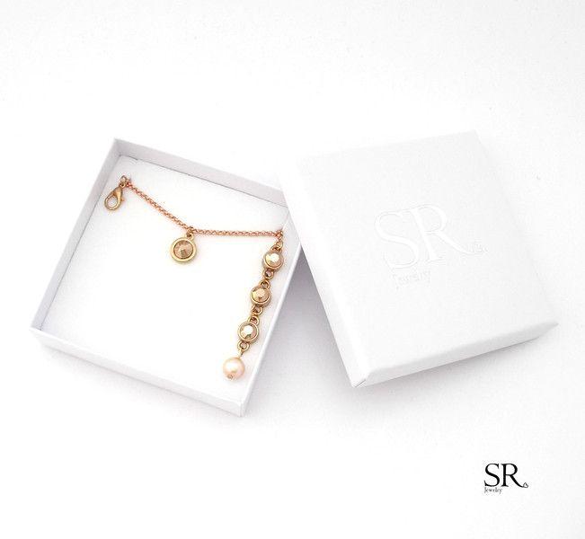 Brautschmuck - Braut Schmuck rosegold rosé Perle Glaskristall Kristalle Rückenkette Hochzeit Kette  - ein Designerstück von sweetrosy bei DaWanda