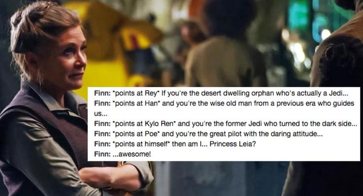 I thought the same thing! Finn is totally the new Princess Leia! LOL I love it