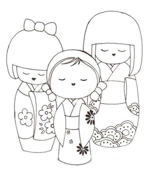 Coloriage : Les poupées chinoises | Momes.net