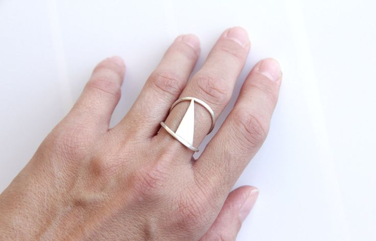 Sterling Silver Triangle Geometric Double Band Ring